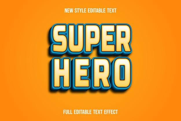 Efeito de texto 3d super-herói cor marrom claro e gradiente azul