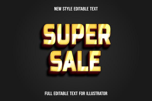 Efeito de texto 3d super venda cor amarelo e gradiente vermelho