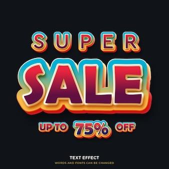 Efeito de texto 3d super venda