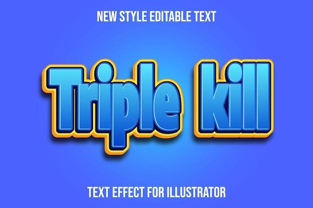 Efeito de texto 3d triple kill cor gradiente de azul e amarelo