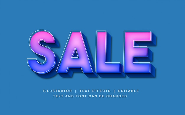 Efeito de texto 3d venda na cor rosa