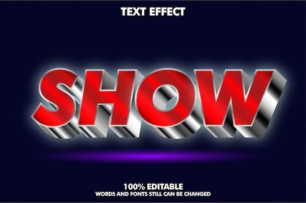Efeito de texto 3d vermelho e prateado simulado acima