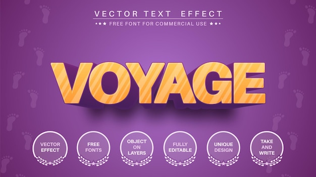 Efeito de texto 3d voyage