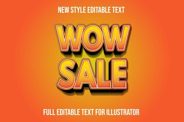 Efeito de texto 3d wow venda cor laranja e gradiente preto