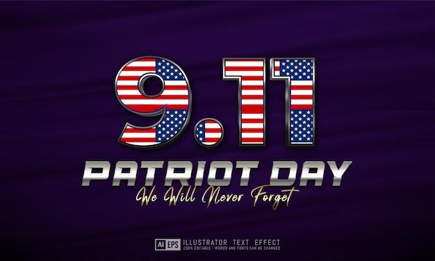 Efeito de texto 9.11 dia do patriota estilo de texto 3d editável