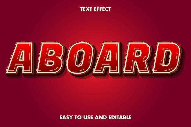 Efeito de texto a bordo. estilo de fonte editável.