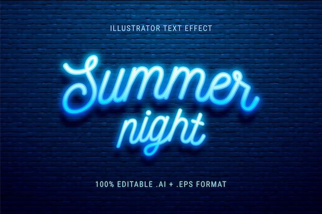 Efeito de texto à noite de verão