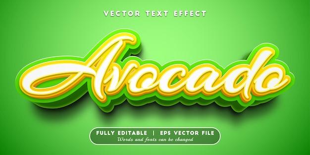 Efeito de texto abacate com estilo de texto editável