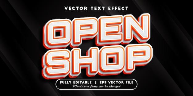 Efeito de texto aberto com estilo de texto editável