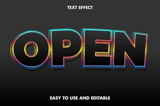 Efeito de texto - aberto. editável e fácil de usar.