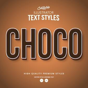 Efeito de texto abstrato moderno chocolate estilo gráfico editável