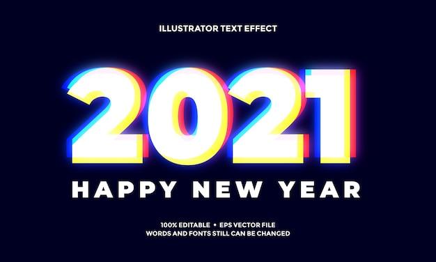Efeito de texto abstrato vívido de ano novo Vetor Premium