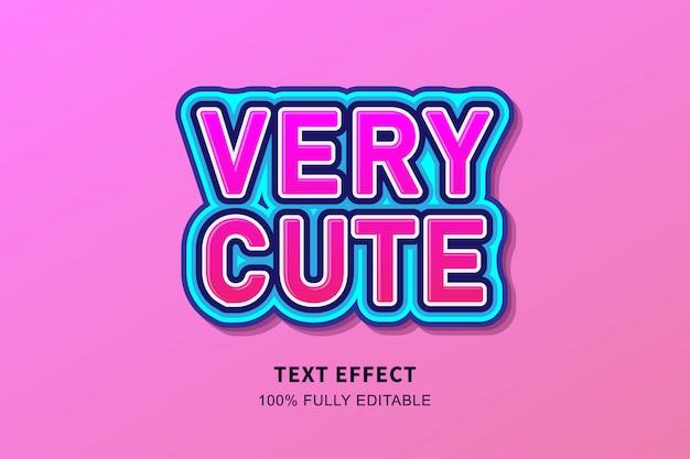 Efeito de texto adesivo bonito muito fresco, texto editável