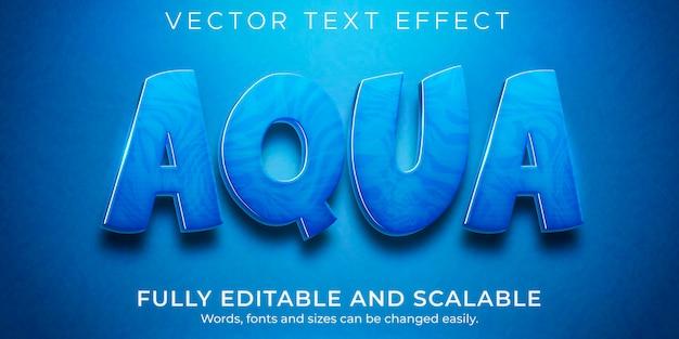 Efeito de texto água aqua, estilo de texto azul e líquido editável