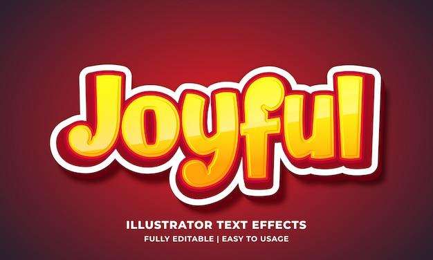 Efeito de texto alegre dos desenhos animados