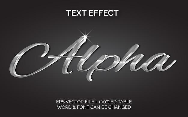 Efeito de texto alfa estilo prata efeito de texto editável