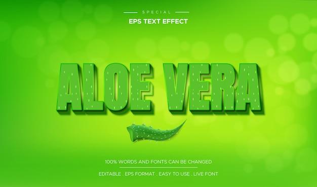 Efeito de texto aloe vera com cor verde
