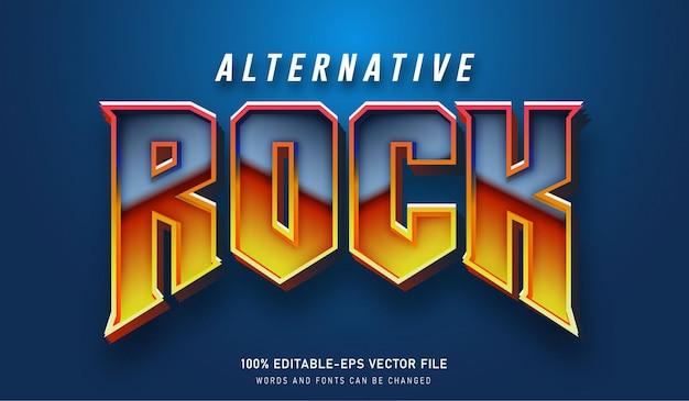 Efeito de texto alternativo de rock e fontes editáveis
