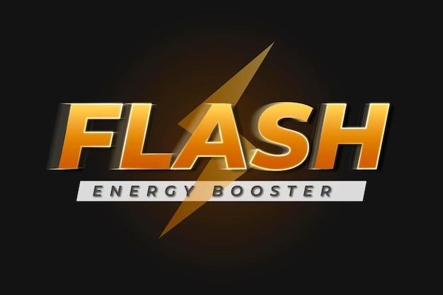 Efeito de texto amarelo de vetor de maquete de logotipo editável, palavras de reforço de energia do flash