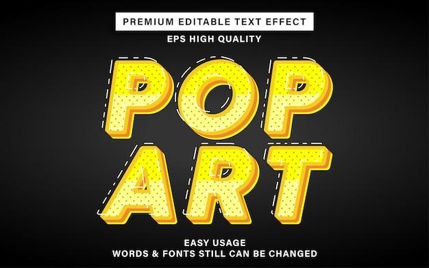 Efeito de texto amarelo pop art