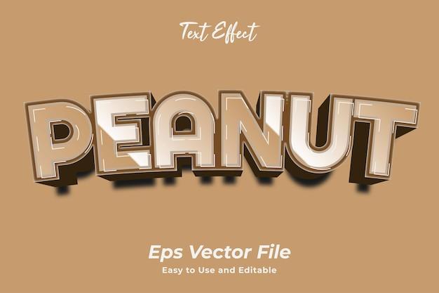 Efeito de texto amendoim editável e fácil de usar premium vetor