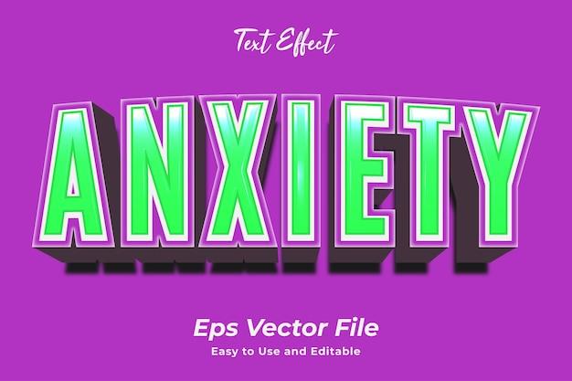 Efeito de texto ansiedade editável e fácil de usar vetor premium