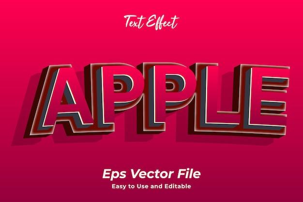 Efeito de texto apple fácil de usar e vetoriais editáveis