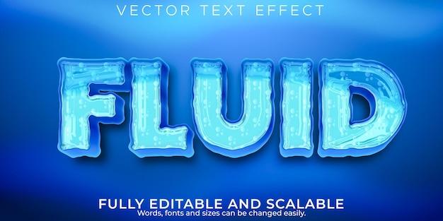Efeito de texto aqua fluido, estilo de texto editável de água e oceano