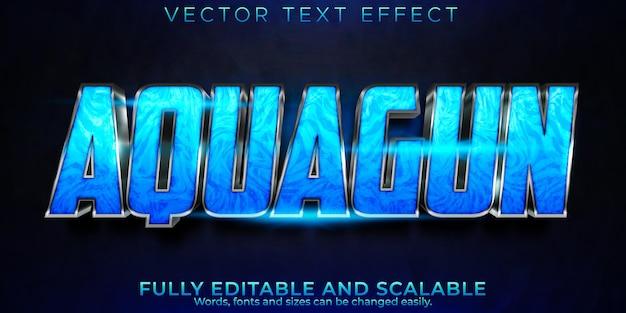Efeito de texto aquagun, ação editável e estilo de texto esportivo