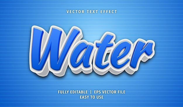 Efeito de texto aquático, estilo de texto editável