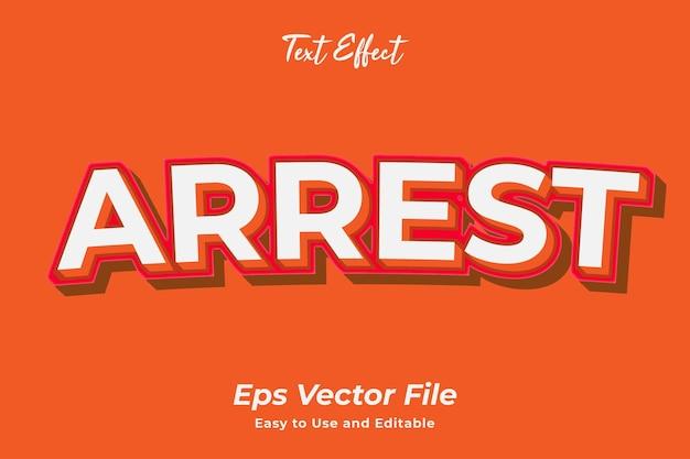 Efeito de texto arrest simples de usar e editar vetor de alta qualidade