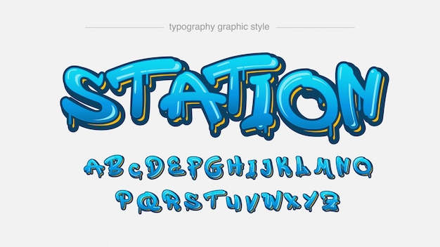Efeito de texto artístico de graffiti azul pingando luz