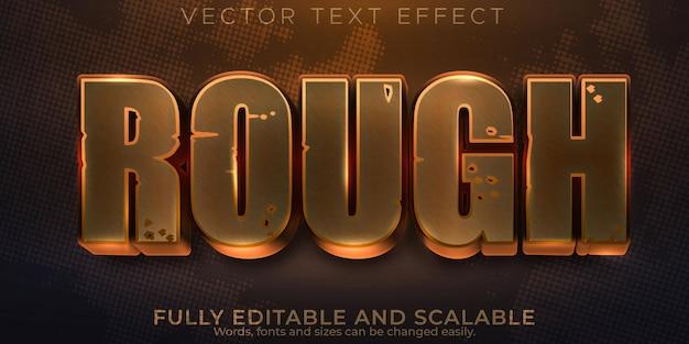 Efeito de texto áspero e enferrujado, estilo de texto editável de metal e bronze