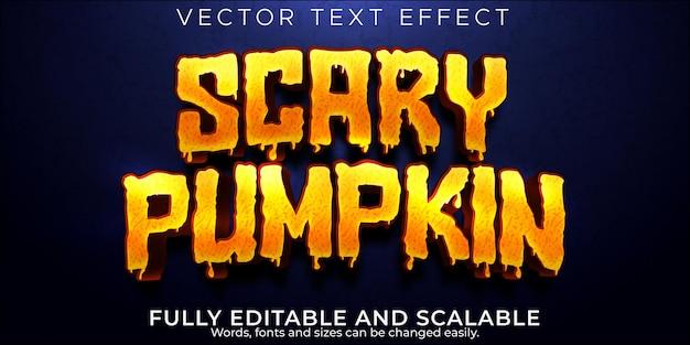 Efeito de texto assustador de abóbora editável em estilo de texto morto e bruxa