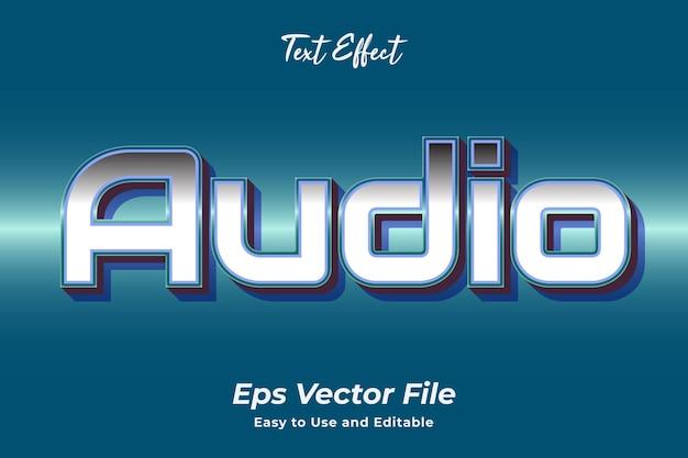Efeito de texto áudio editável e fácil de usar vetor premium