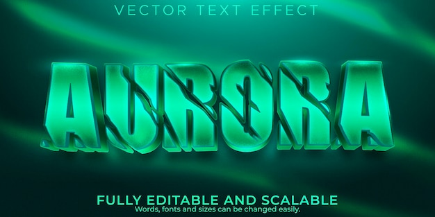 Efeito de texto aurora; norte editável e estilo de texto horror