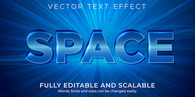 Efeito de texto azul de espaço, estilo de texto editável metálico e brilhante