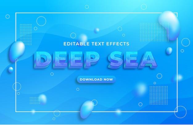 Efeito de texto azul do mar profundo