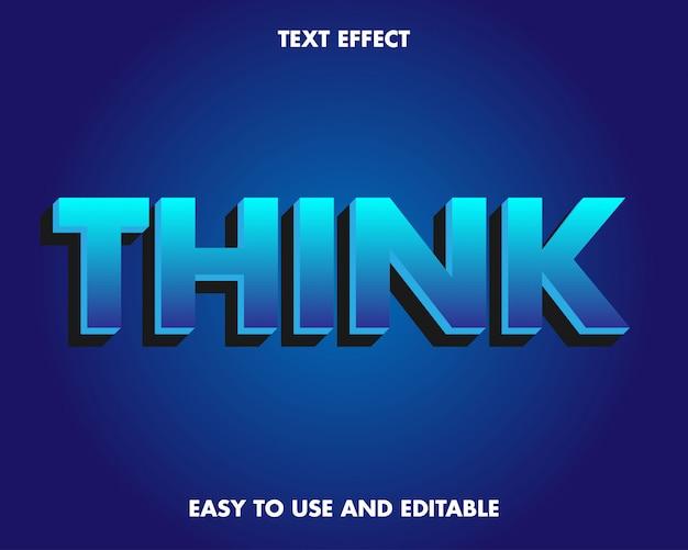 Efeito de texto azul escuro com design 3d moderno.