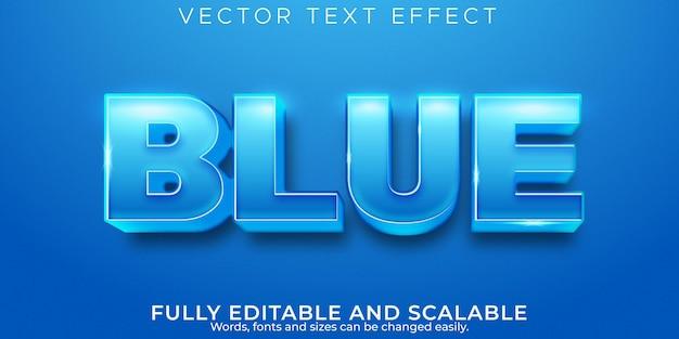 Efeito de texto azul, estilo de texto editável de água e oceano