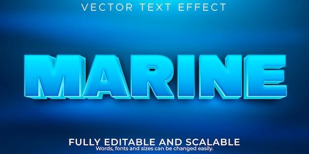 Efeito de texto azul marinho, estilo de texto editável do mar e da água