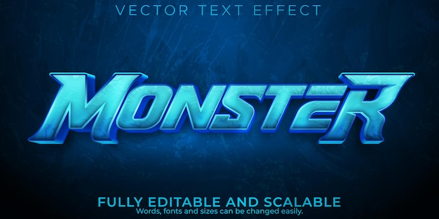Efeito de texto azul monstro, esportes editáveis e estilo de texto de jogo