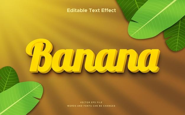 Efeito de texto banana com fundo tropical