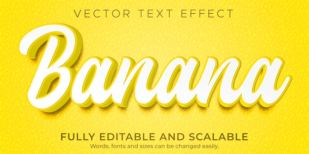 Efeito de texto banana natural editável com estilo de texto fresco e alimentar