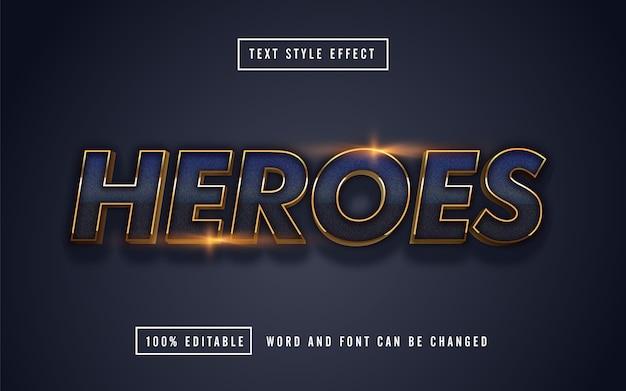 Efeito de texto blue heroes editável