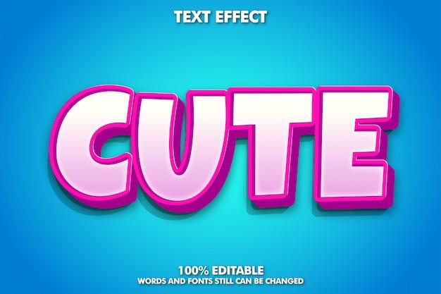 Efeito de texto bonito rosa dos desenhos animados