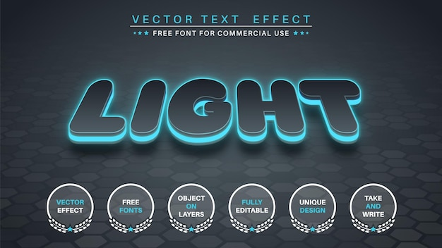 Efeito de texto brilhante 3d, estilo da fonte