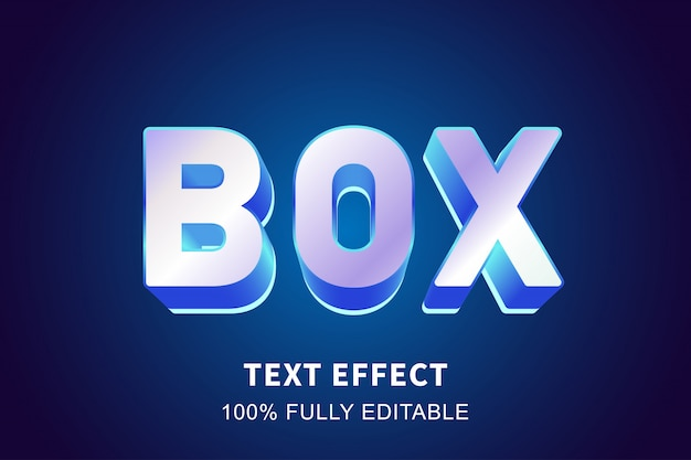 Efeito de texto brilhante azul cristal 3d, texto editável