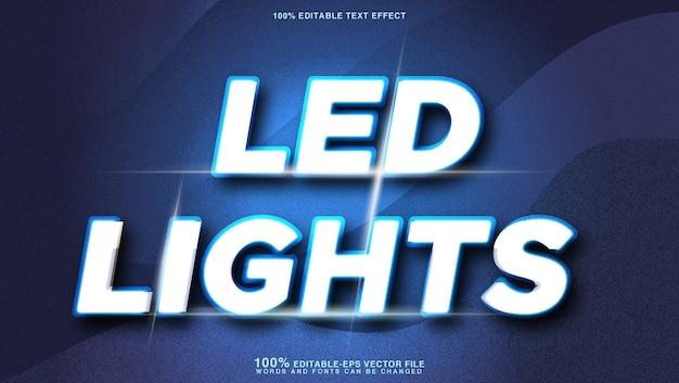 Efeito de texto brilhante de luzes led brancas