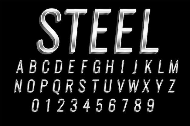 Efeito de texto brilhante em aço ou prata